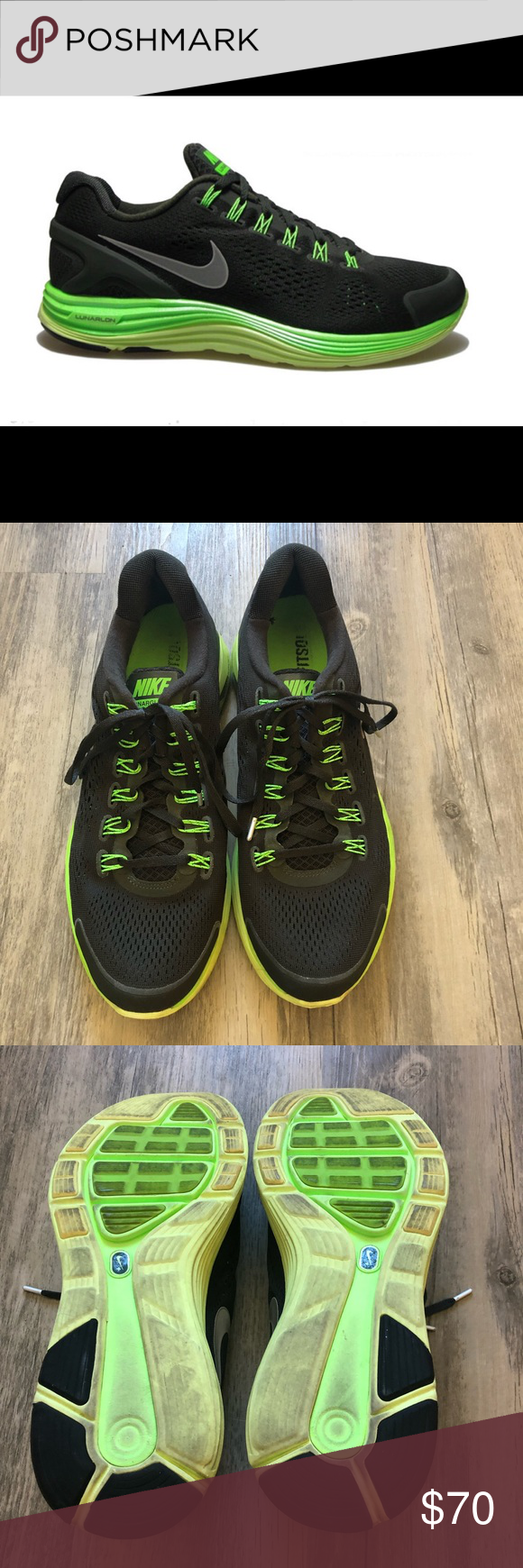 a67c8eb017e2 Nike LunarGlide4 Men s Running Shoes Nike LunarGlide4 Men s Running Shoes  Size 12 Color  Black   Neon Green Nike+ enabled Amazing fit and support on  an ...