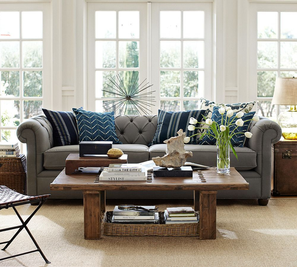 Best Gray Sofa With Blue Accent Pillows And Natural Fiber Rug 640 x 480