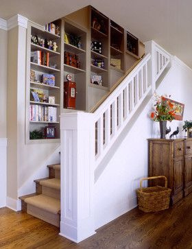 View Of Staircase With Built In Library Stairway Design Staircase Design House