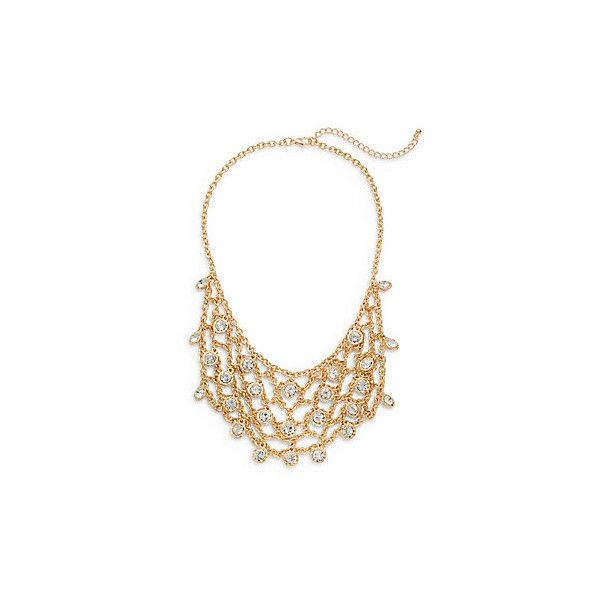 Natasha White Stone Chain Bib Necklace/Goldtone (€18) ❤ liked on Polyvore featuring jewelry, necklaces, gold, stone necklace, stone bib necklace, white stone necklace, white stone jewelry and chain bib necklace