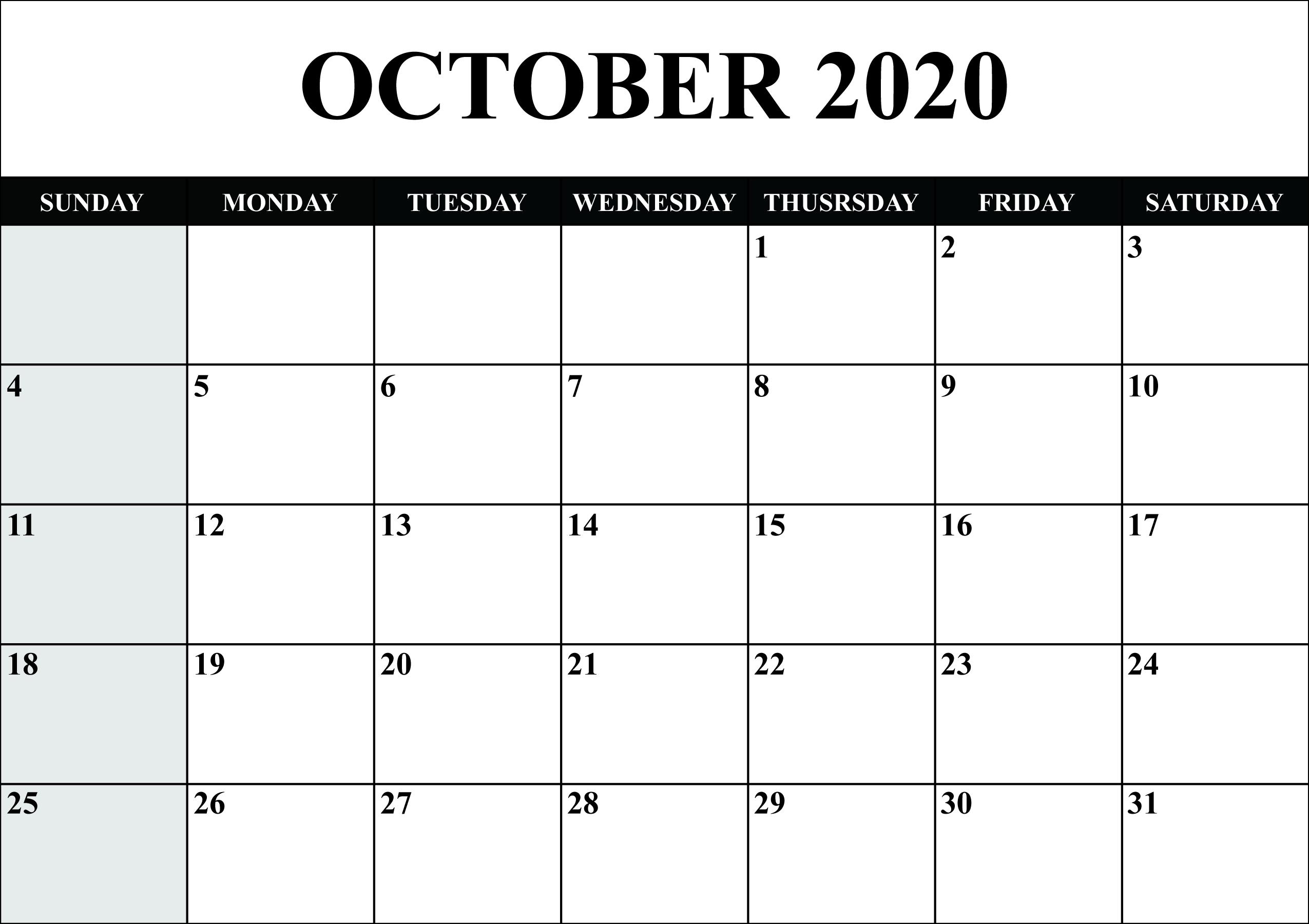 Printable October 2020 Calendar Landscape Editable Calendar Calendar Printables Monthly Calendar Template
