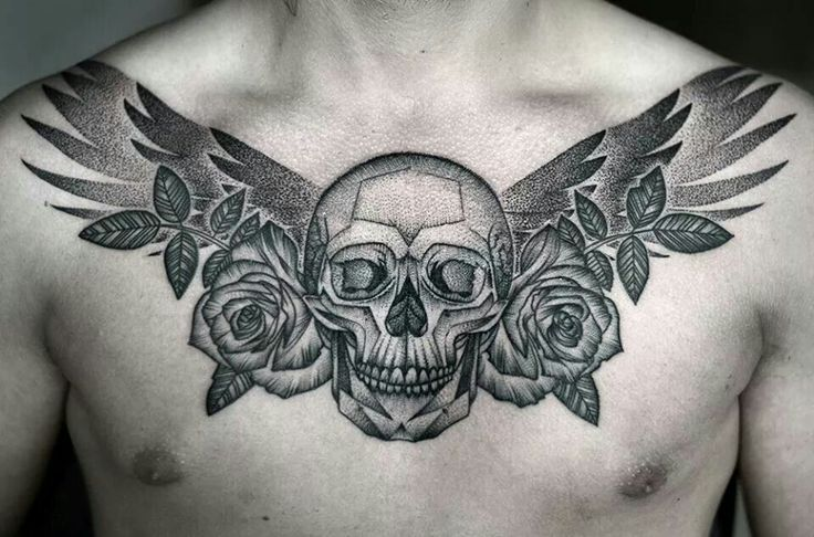 2e74b1cd8be19 piece by Kamil Czapiga. #dotwork #chest #tattoo #skull #wings #rose ...