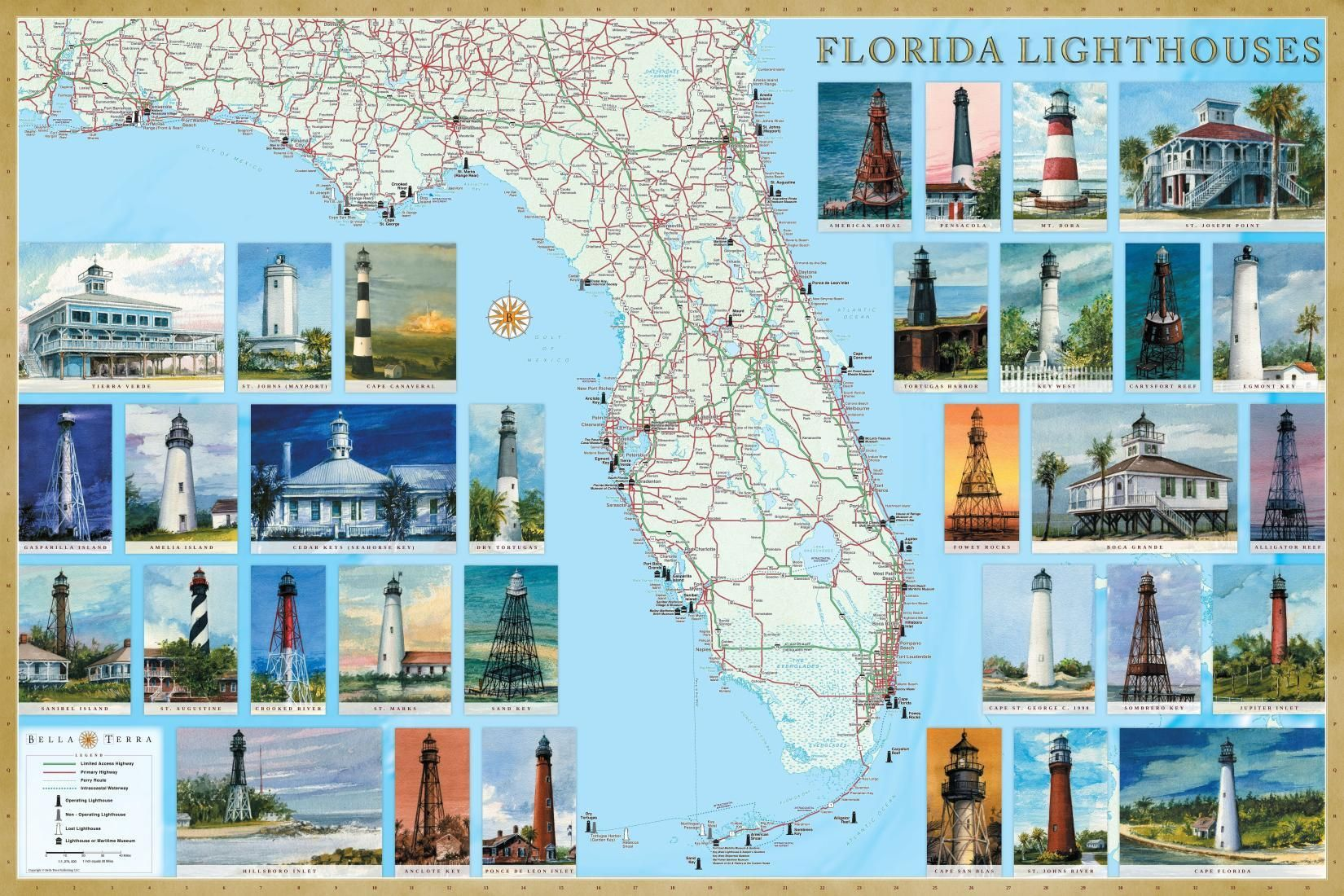 Florida Lighthouses Map Laminated Poster by Bella