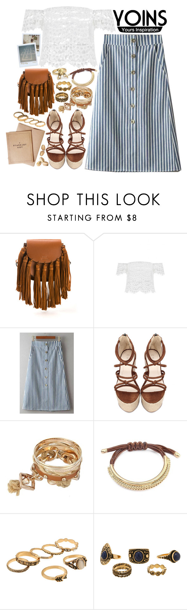 """Yoins: off shoulder top"" by styling-w-mabel ❤ liked on Polyvore featuring Chloé, Polaroid, yoins, yoinscollection and loveyoins"