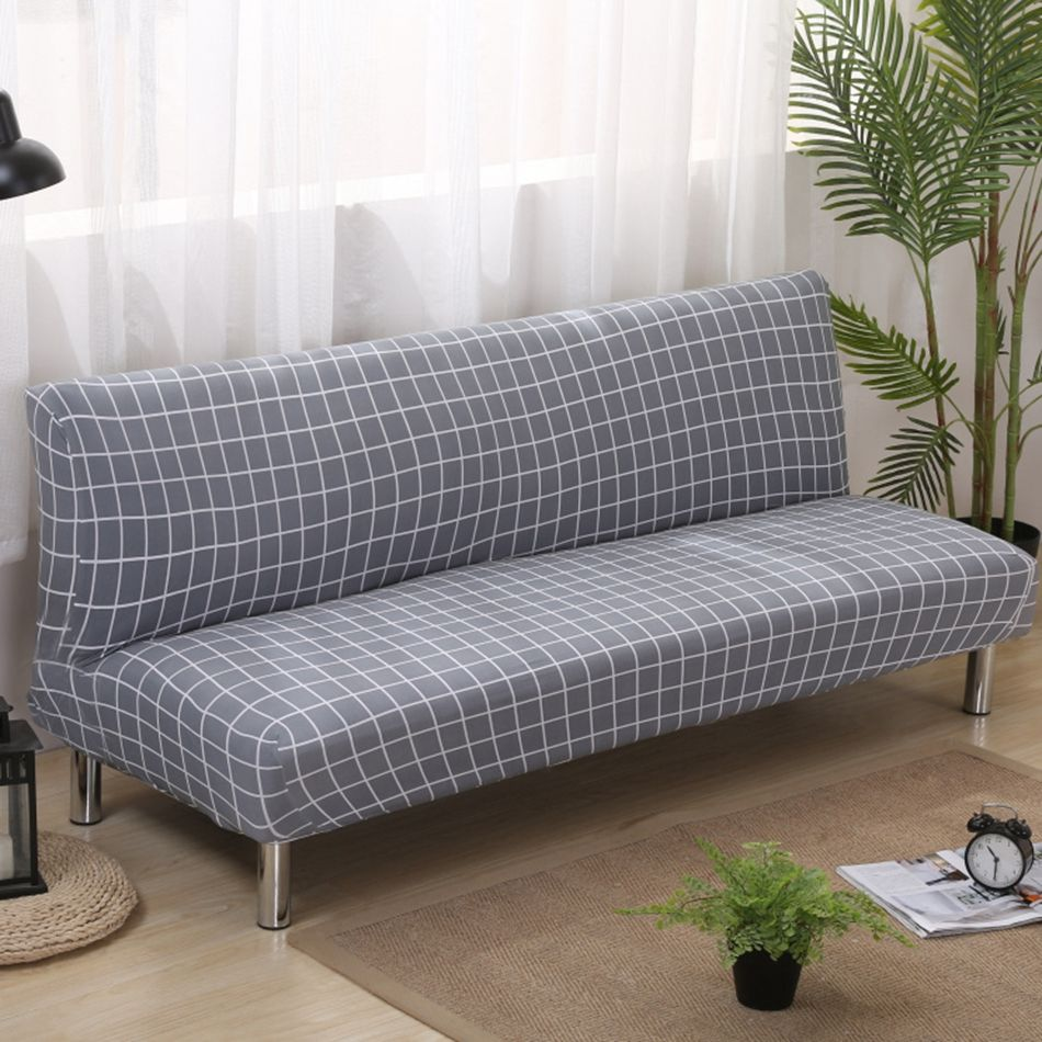 Grey Plaid Armless Couch Sofa Covers For Living Room Universal
