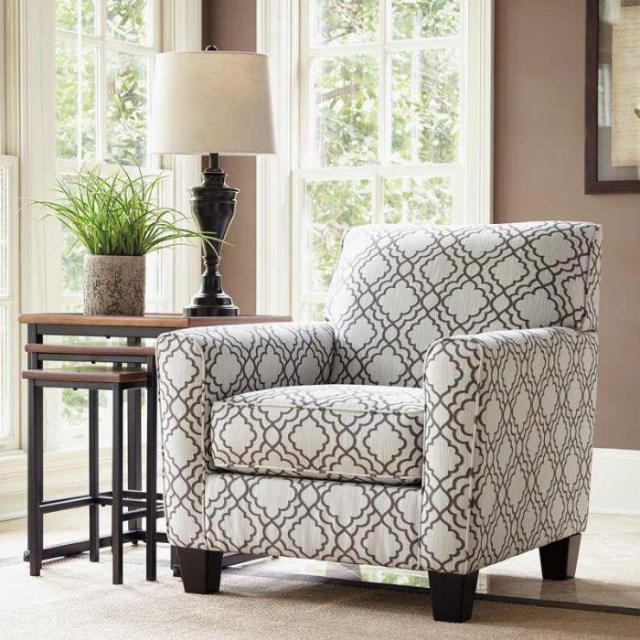 Best Ashley Farough Cream Geometric Accent Chair Accent 400 x 300