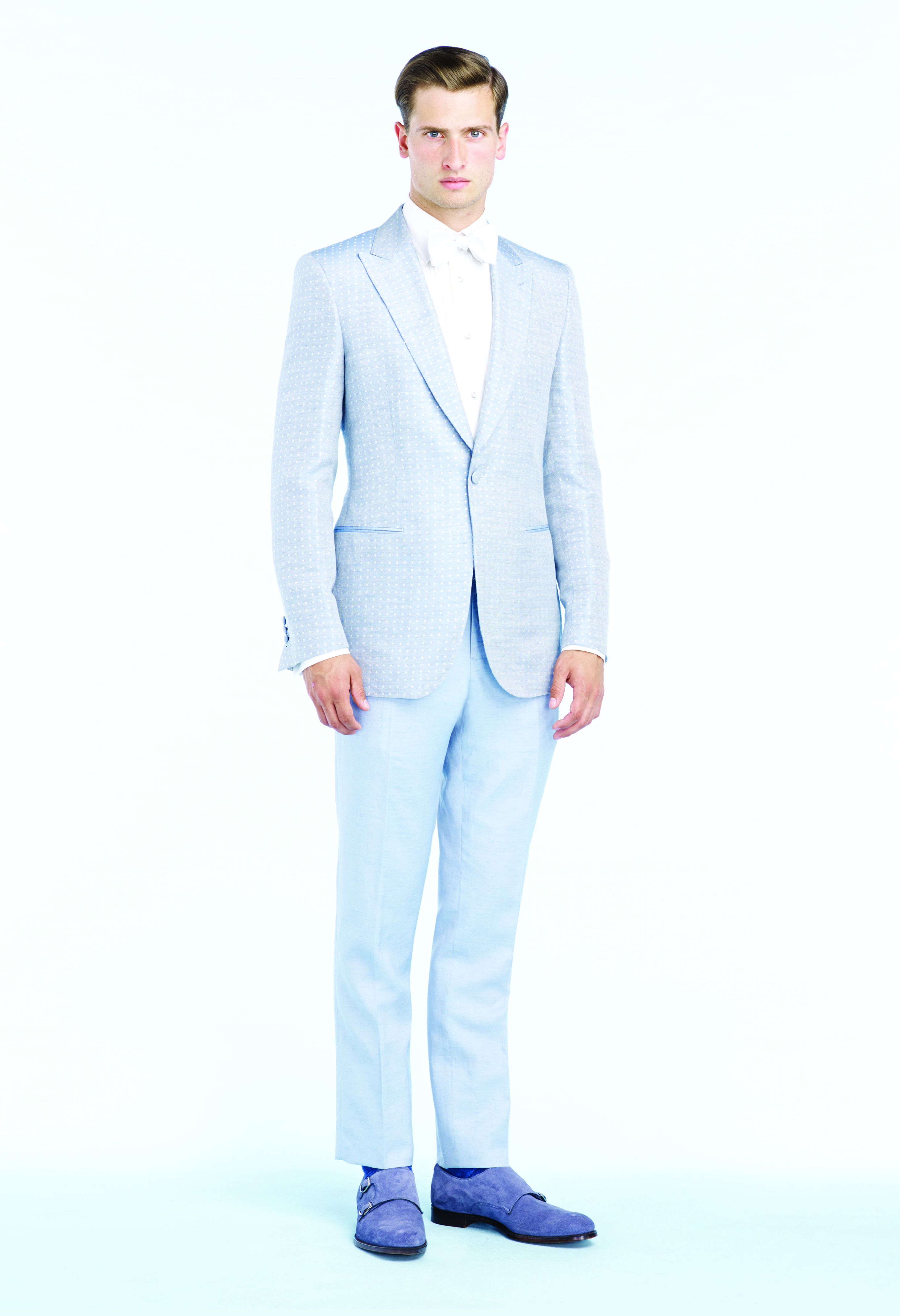f91c05cc4f Pale blue silk/linen polka-dot jacquard dinner jacket, Powder blue linen  trousers, White, cotton dress shirt, White silk bow tie and Powder blue  suede ...