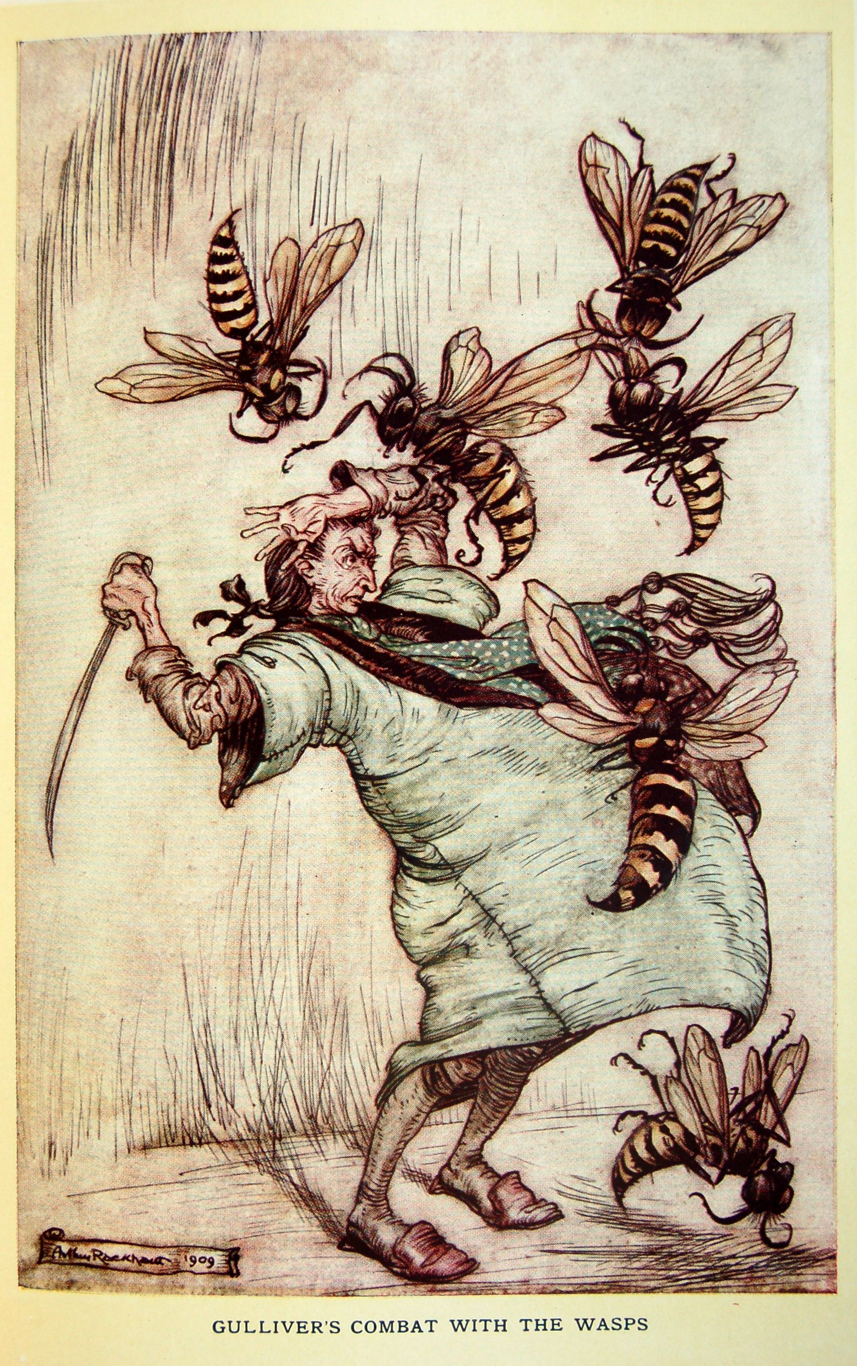 Arthur Rackham - Gulliver's Travels by Jonathan Swift (1900, reworked edition with colour plates 1909) Gulliver's combat with the wasps (10 of 17)