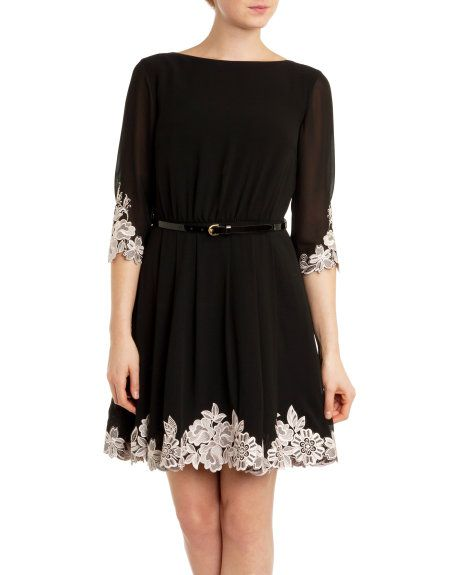 279237c19 Embroidered dress - Black
