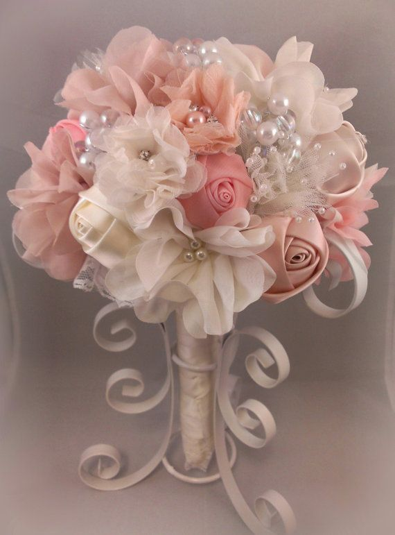 Romantic Fabric Flower Bouquet With Pearls By PetalsAndStardust