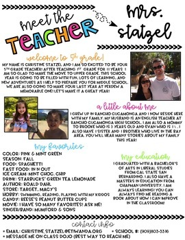 Editable meet the teacher newsletter teacher newsletter open house and teacher for Meet the teacher newsletter