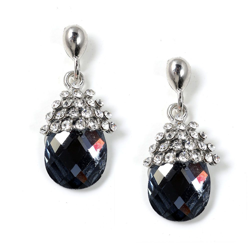 Looking for gift ideas? Get her something she will love! #fashionjewelry #giftgiver #topwholesalejewel Rhodium Crystal Stone in Cone Shape with Large Black Diamond Stone Earrings