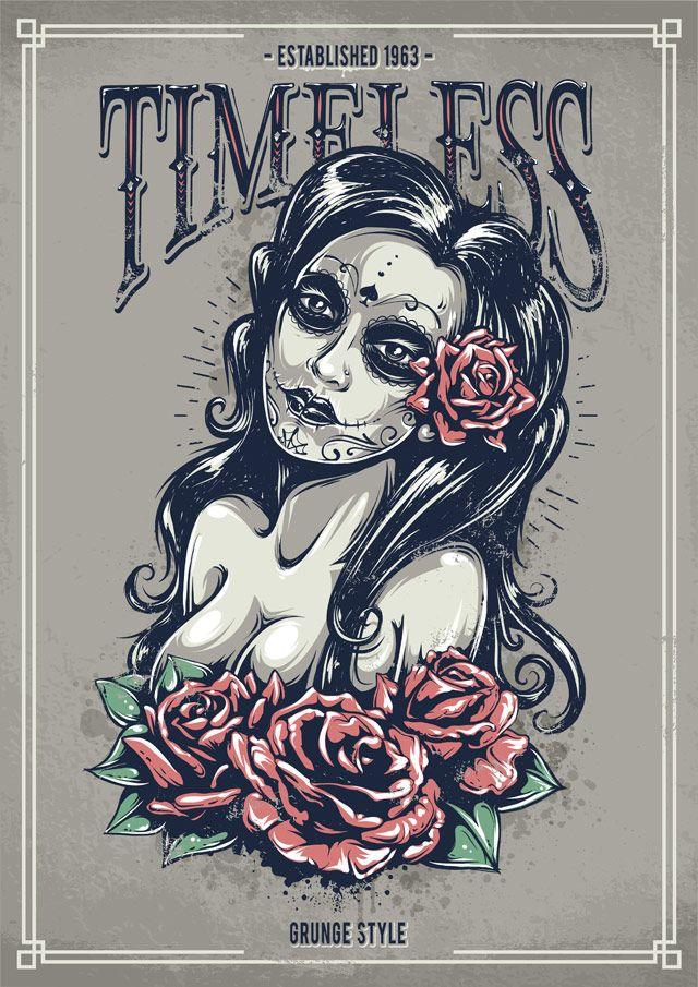 create a tattoo style grunge day of dead girl poster in illustrator tuts design. Black Bedroom Furniture Sets. Home Design Ideas