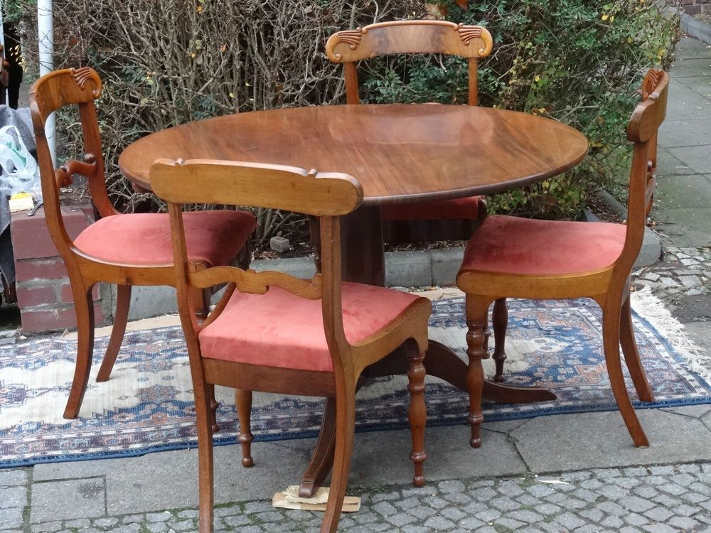 Biedermeier Tisch Mit 4 Stuhlen Biedermeier Tisch Biedermeier
