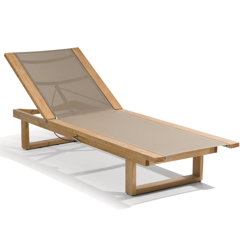 MANUTTI - SIENA TEAK LOUNGER WITH TEXTULINE - CHAISE LOUNGES ...