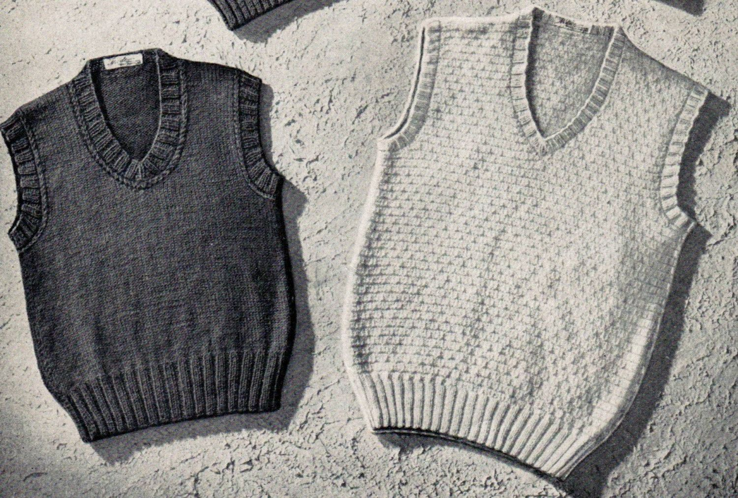 27493bafd An adorable set of 4 knitting patterns for boys sleeveless sweaters from  the 1940s. You