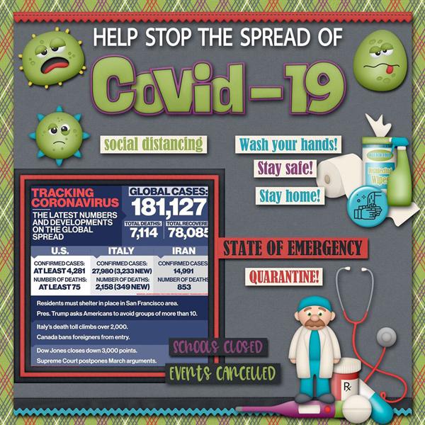 Putting TheUs in Coronavirus Scrapbook Page Kit