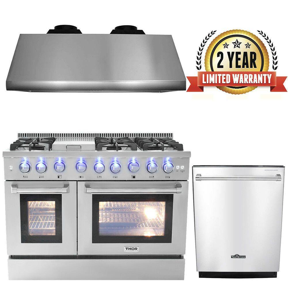 Ebay Sponsored Thor 48 Gas Range Professional Appliance48 Range Hood24 Dishwasher Stove Installation Built In Dishwasher Kitchen Surfaces