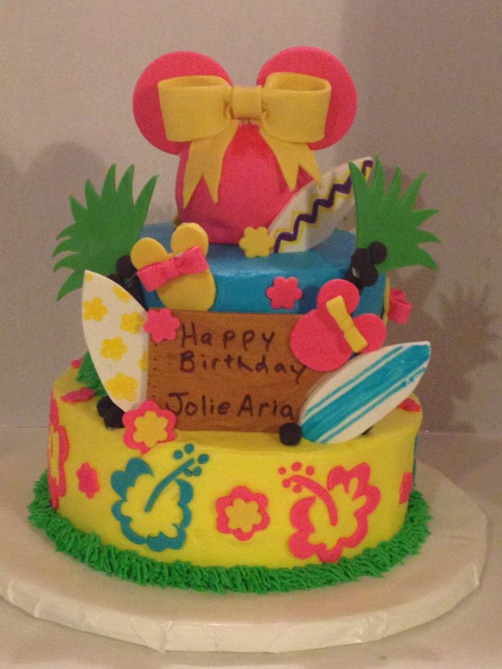 Mini Mouse Luau Cake Birthday Mickey Minnie Party