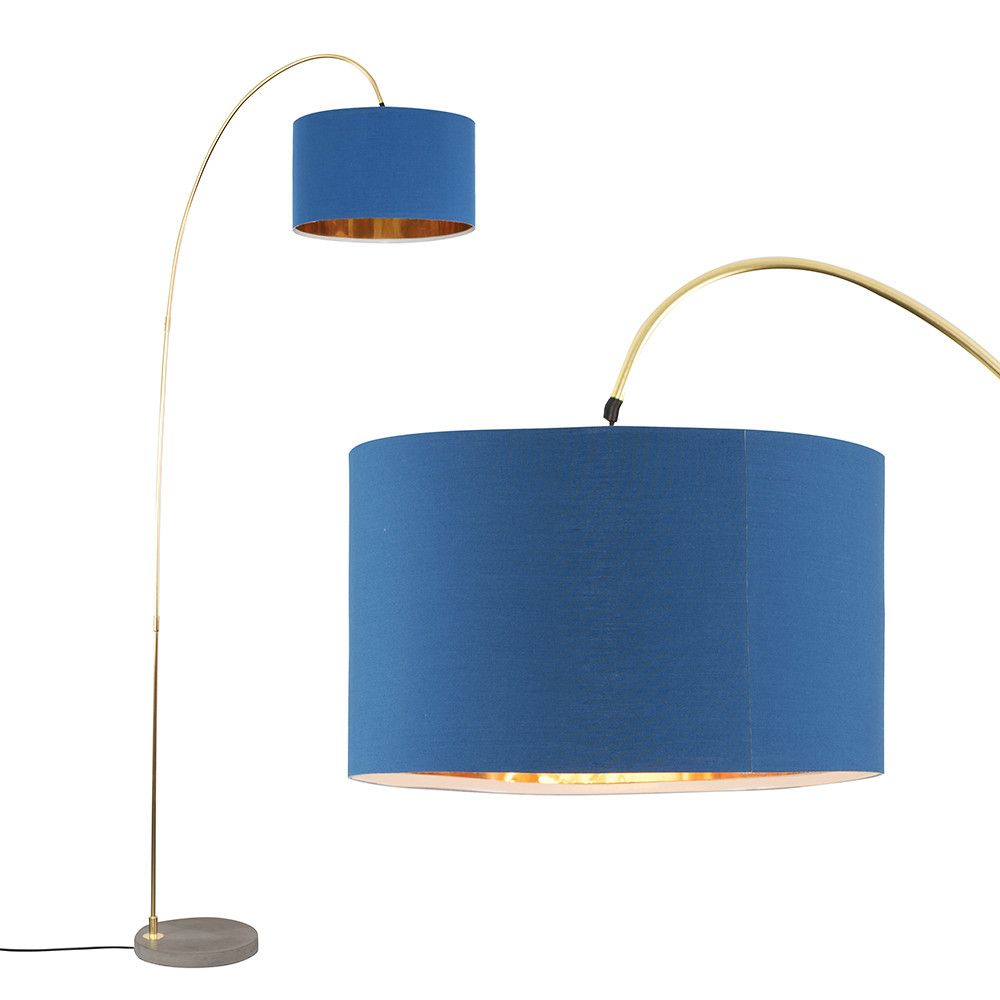 Du Bose Gold Floor Lamp With Navy And Gold Shade Gold