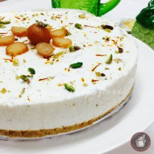 A No Bake Eggless Sinful Gulab Jamun Cheesecake