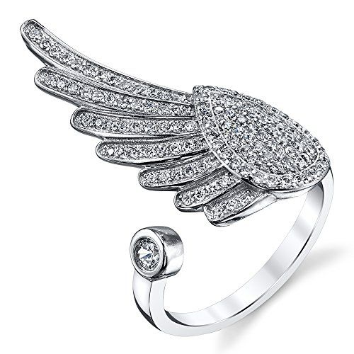 Sterling Silver Angel Wing Feather Freedom CZ Variable Size Cubic Zirconia Ring