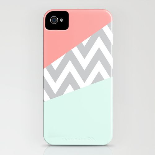 Mint & Coral Chevron Block iPhone Case from Society 6-Danielle Bourland
