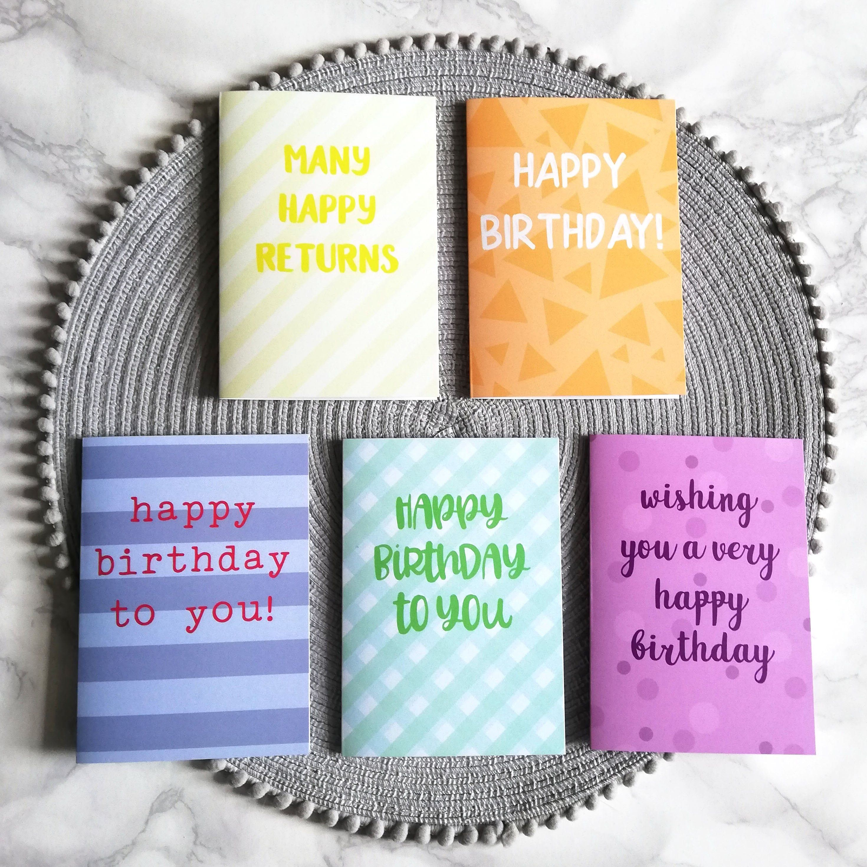 Mixed Pack 5 Birthday Cards Blank For Your Message Etsy Birthday Cards Blank Cards Cards