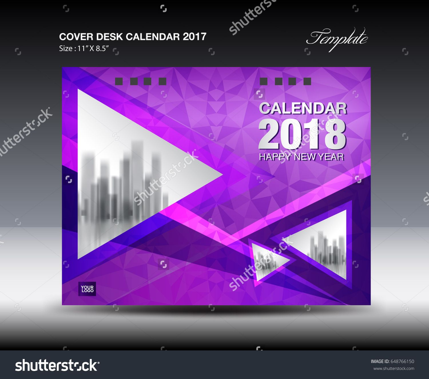 Calendar Cover 2018 : Purple cover desk calendar design polygon background
