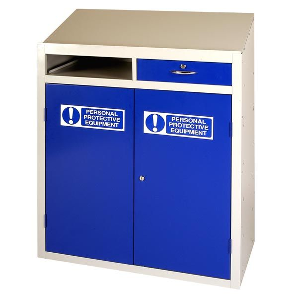 #PPE Double Drawer Workstation Anti Bacterial Powder Coating Versatile Unit  Offering Secure Storage And