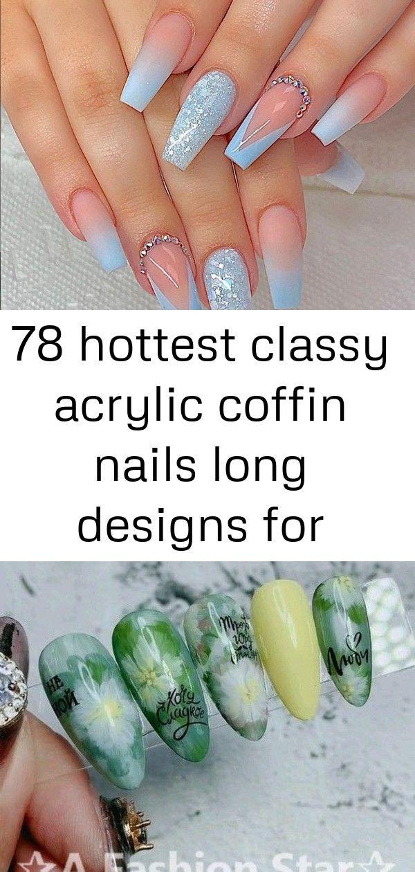 78 heetste stijlvolle acryl doodskist nagels lange ontwerpen voor zomer nagel kleur 8