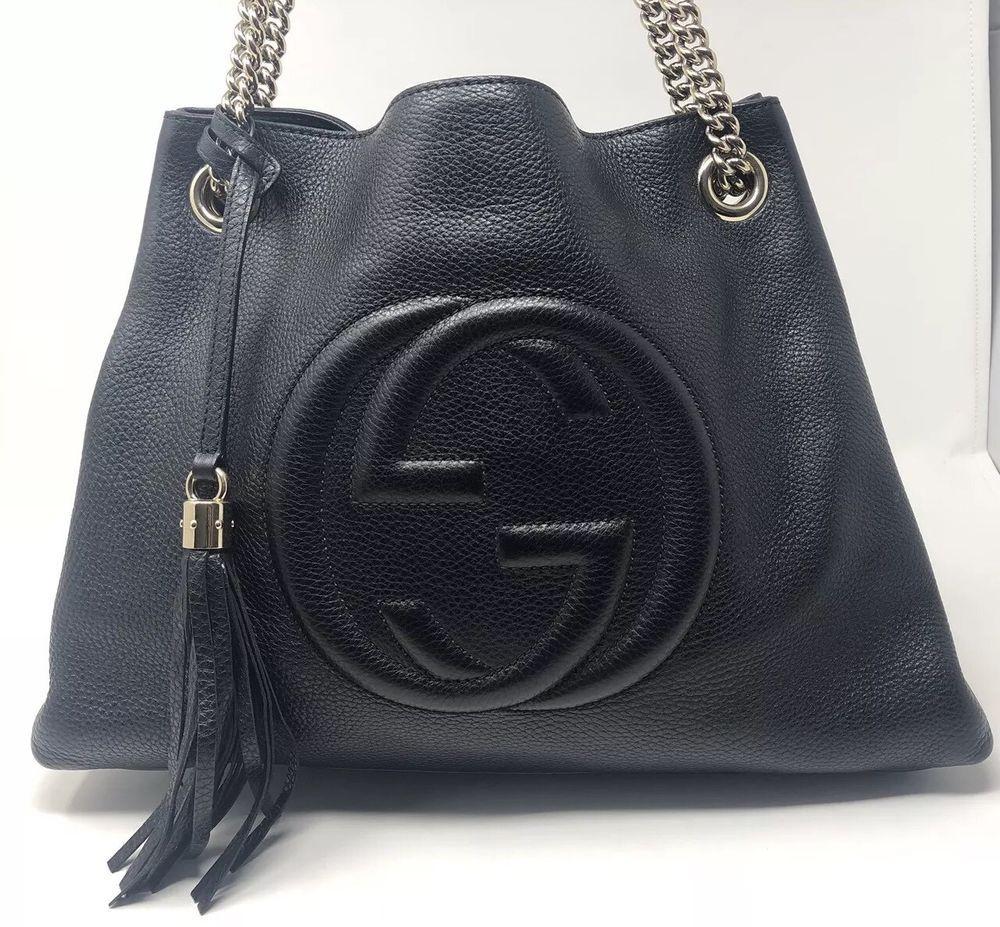 d1c4314e61e Gucci Soho Black Pebbled Leather Medium Tote Gold Chain  purses  fashion