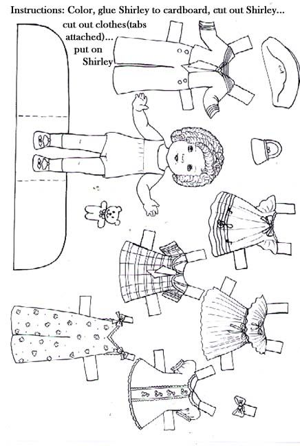 Paper Doll Template | Colored Shirley Temple Dolls #2 ...