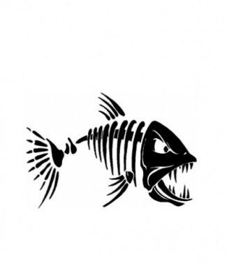 Fish Bone Mafia By Dog Tag Art Skeleton Drawings Cartoon Fish Fishing Decals