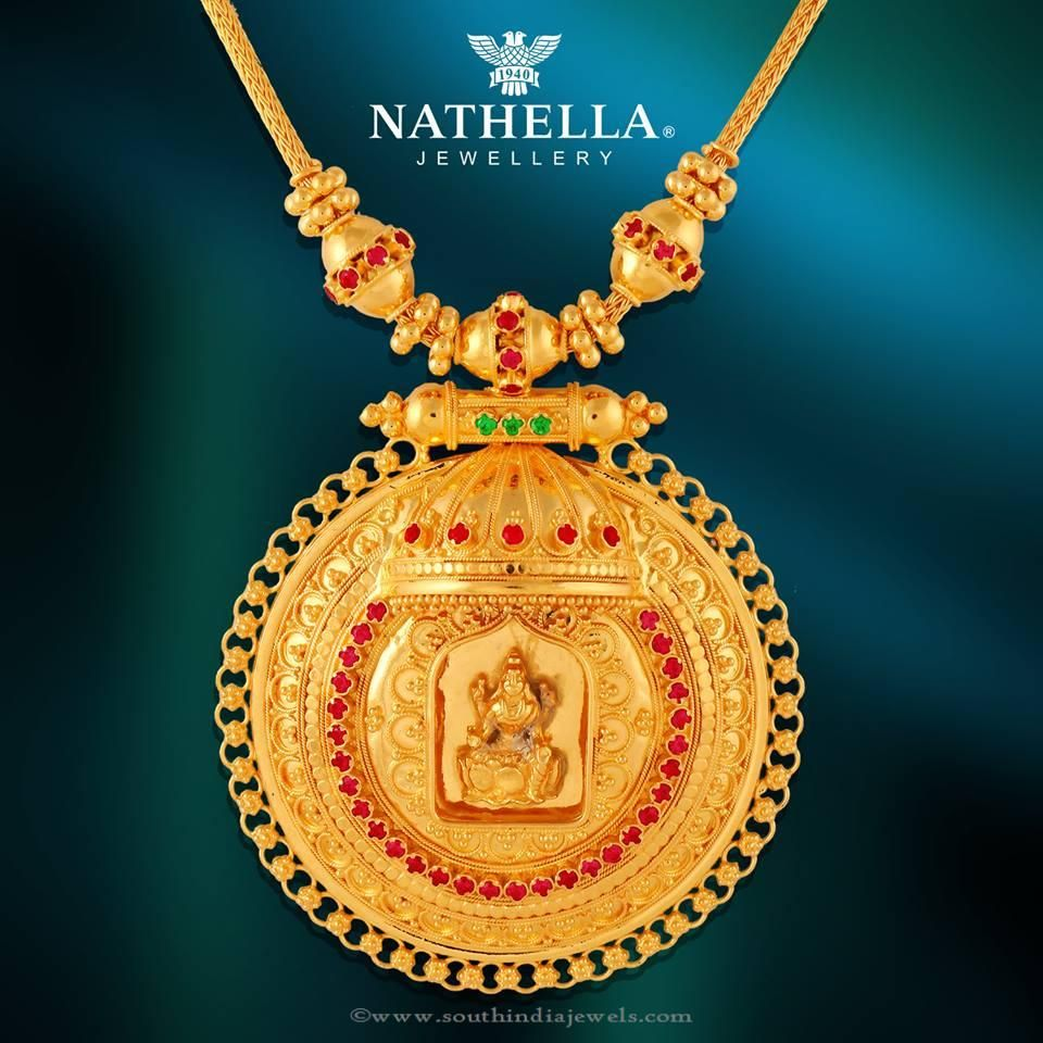 Gold temple necklace from nathella temple jewel and pendants 22k gold temple necklace with lakshmi pendant studded with rubies and emearlds for inquiries mozeypictures Choice Image
