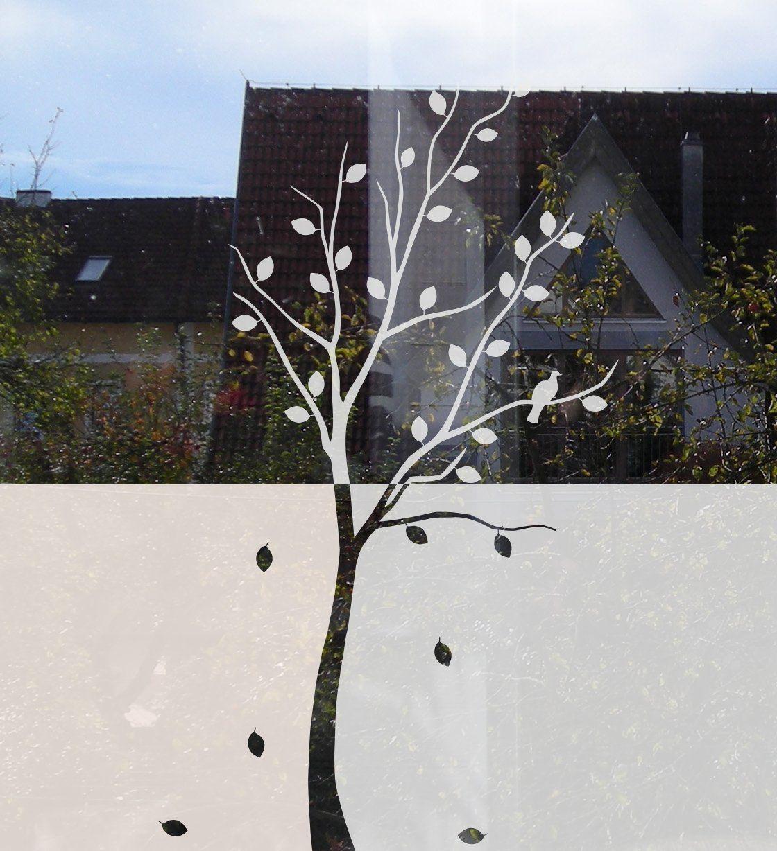 Dekorativer Sichtschutz aus Glasdekorfolie Baum mit Blättern