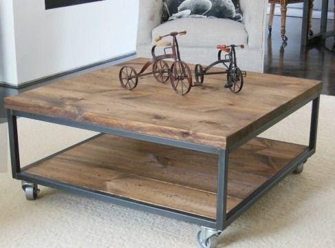 mesa ratona madera hierro rstica ruedas escritorio comedor
