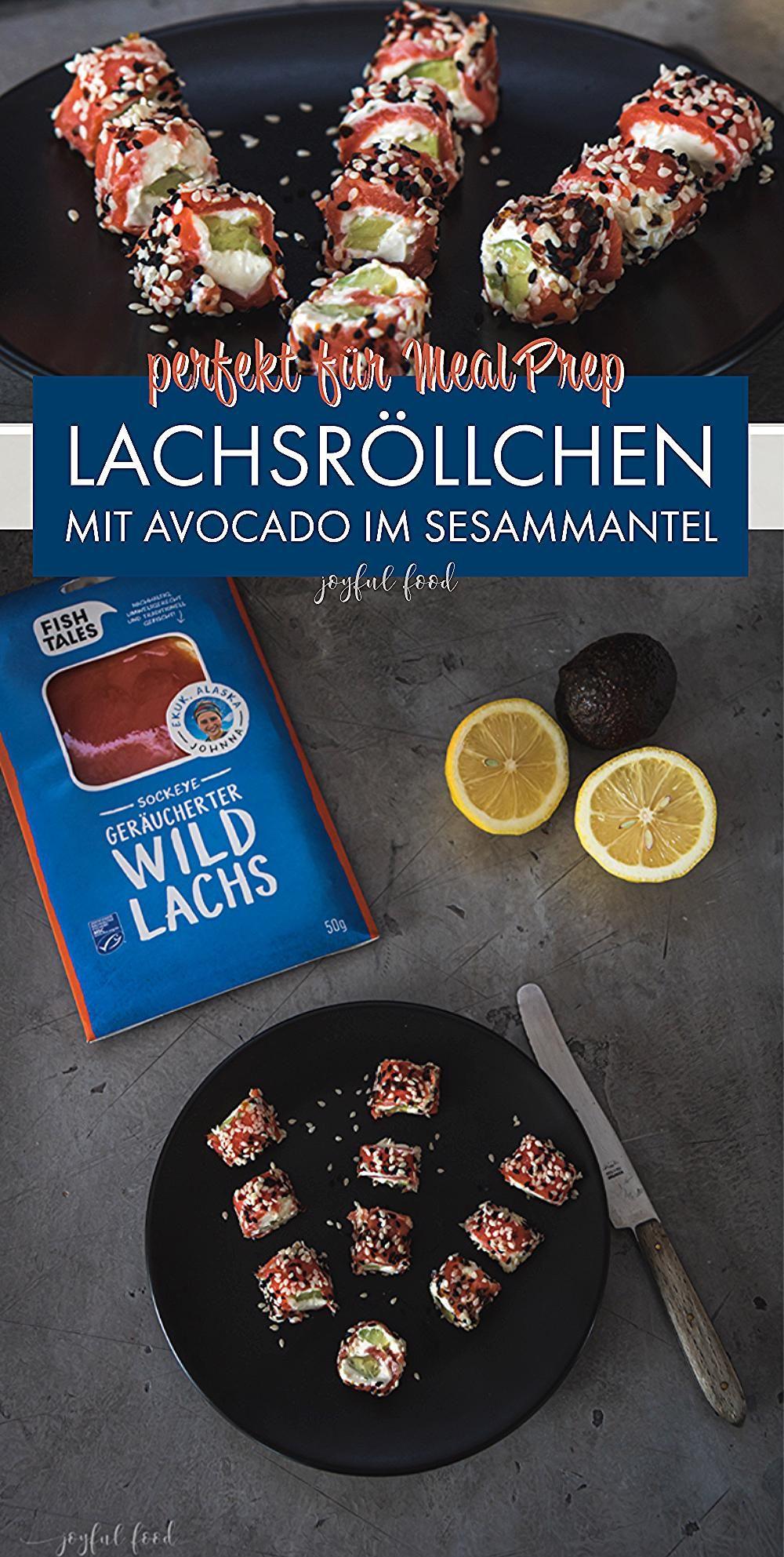 Werbung - leckeres Lachs Röllchen Rezept mit Avocado im Sesammantel. Erfrischendes, leckeres Finge