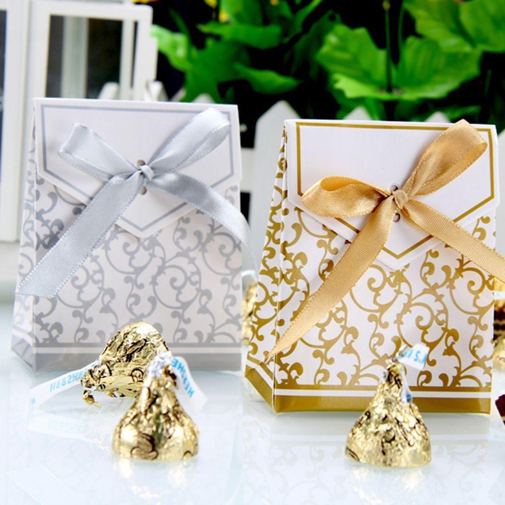 50/100pcs Sliver/Gold Bridal Wedding Party Favor Gift Ribbons Candy ...