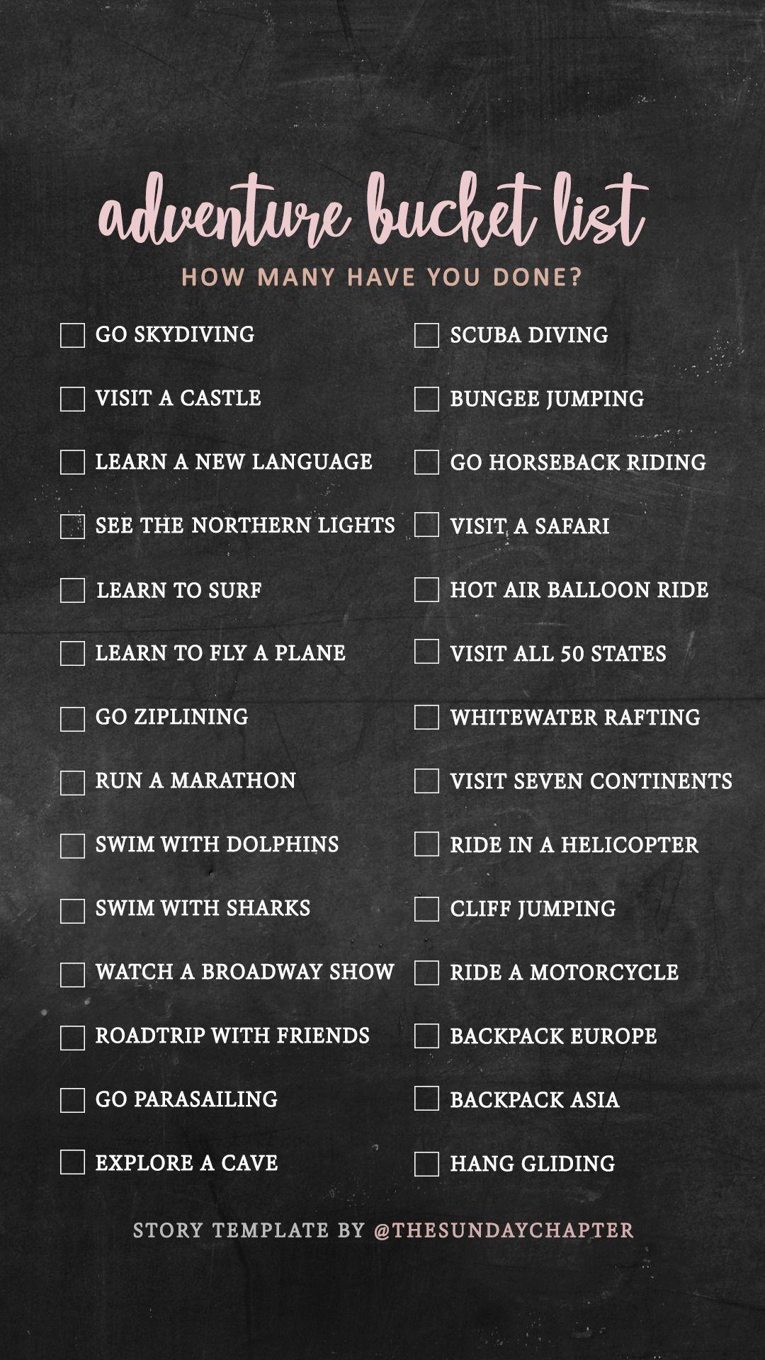 adventure travel bucket list challenge instagram story ...