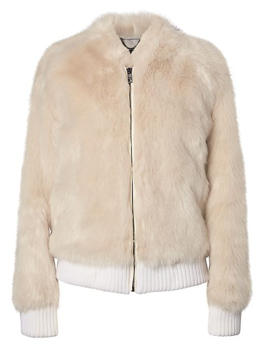 65db13d276cccf Banana Republic Womens Faux Fur Bomber Cream | Products | Fur bomber ...