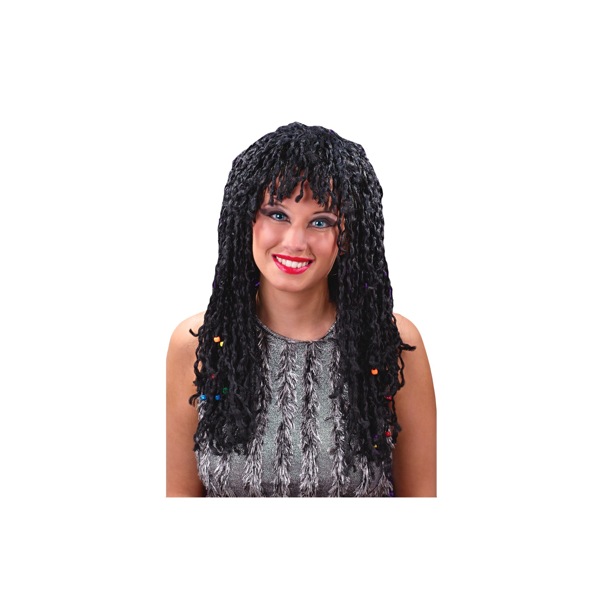 costume wig beaded twist black, adult unisex | costume wigs and products