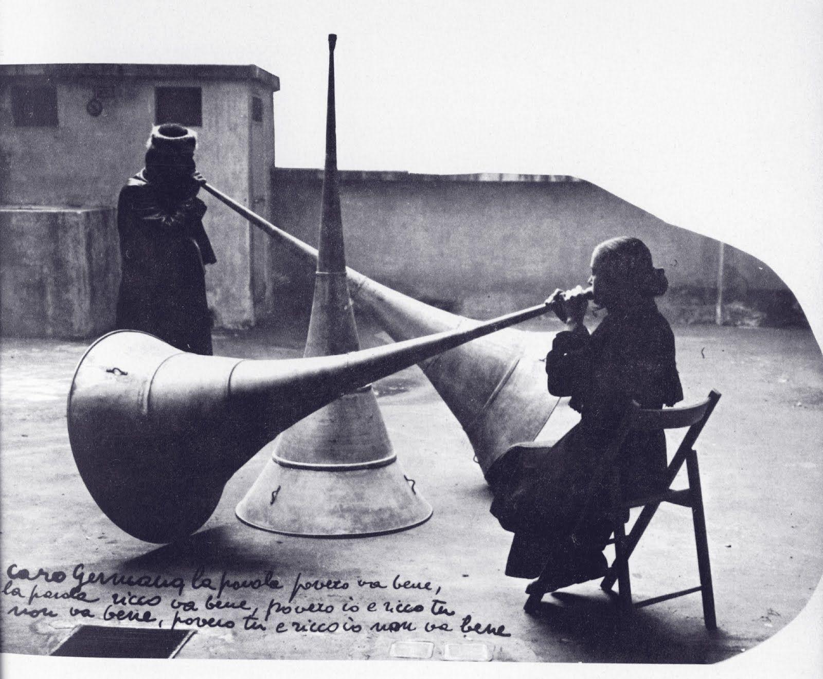 Michelangelo Pistoletto and Maria Poppi. Performance view of Le Trombe del Giudizio, Rome, 1968