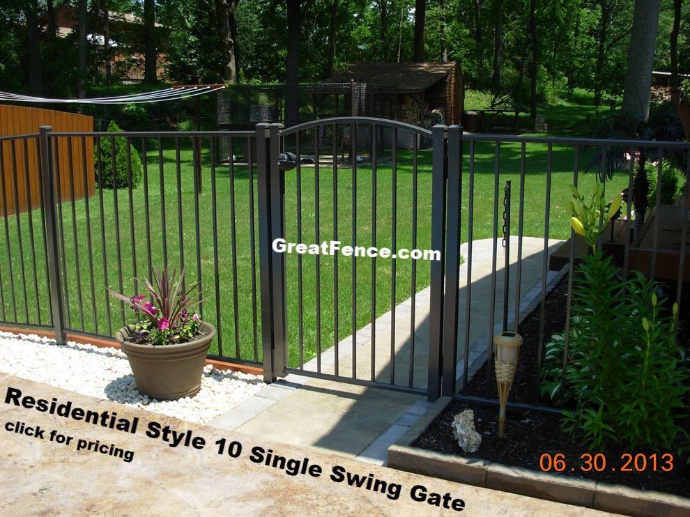 Residential Single Swing Gate Style 10 With Sunburst Arch Backyard Dog Area Aluminium Gates Arch