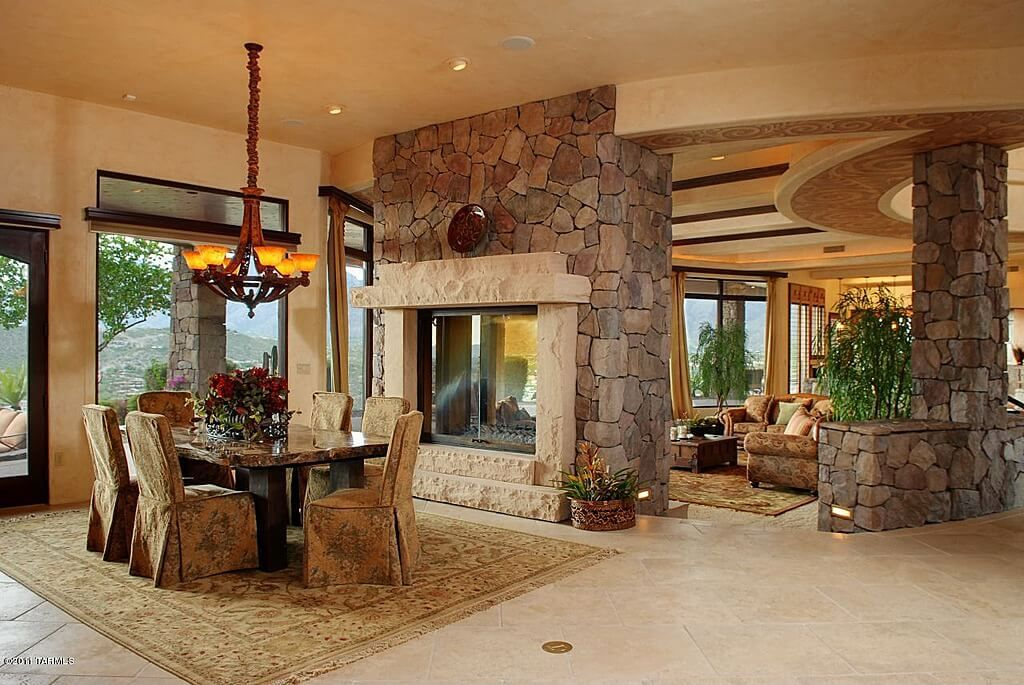 126 Custom Luxury Dining Room Interior Designs | White Fireplace, Long  Walls And Dining Area