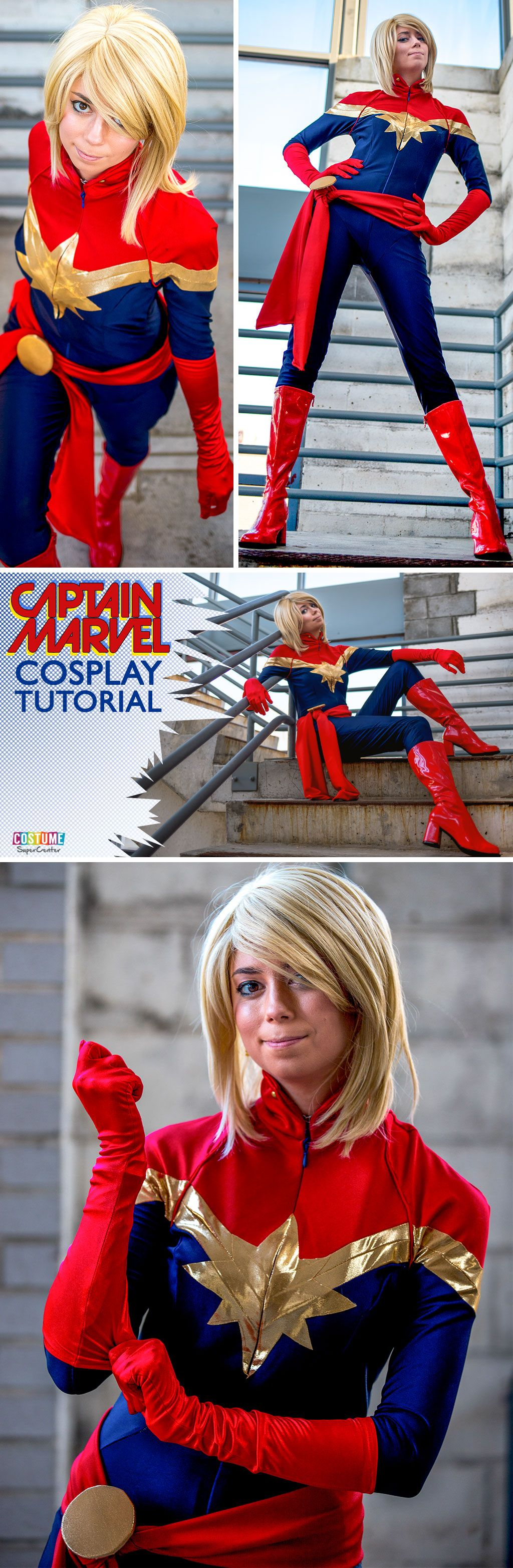 Captain Marvel Cosplay Tutorial Captain Marvel Marvel Cosplay Marvel Costumes Oh and i found an old lady to punch. pinterest