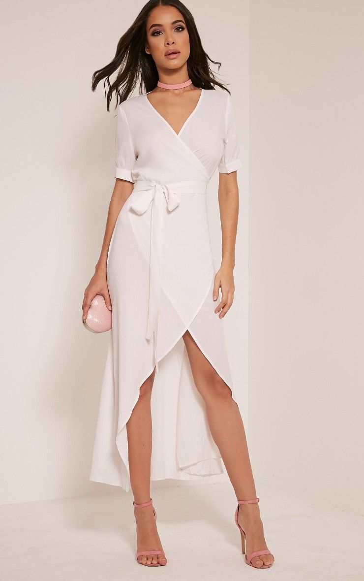 614052165860 Renesmee White Wrap Maxi Shirt Dress | Top Fashion & Everyday Looks ...