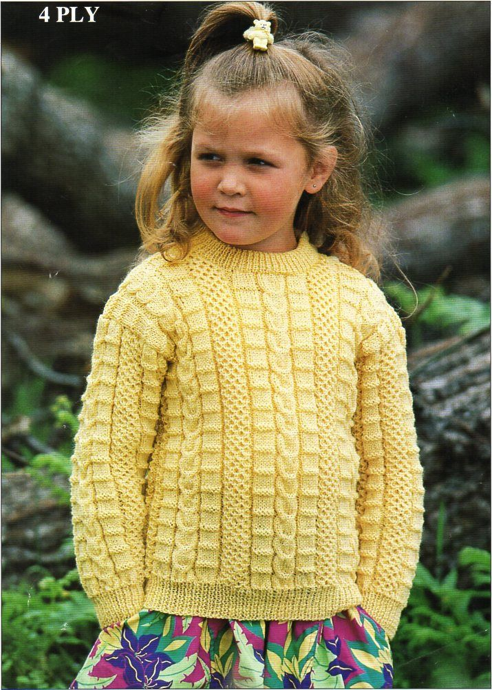 Childrens 4ply Sweater Knitting Pattern Pdf Childs Textured Jumper