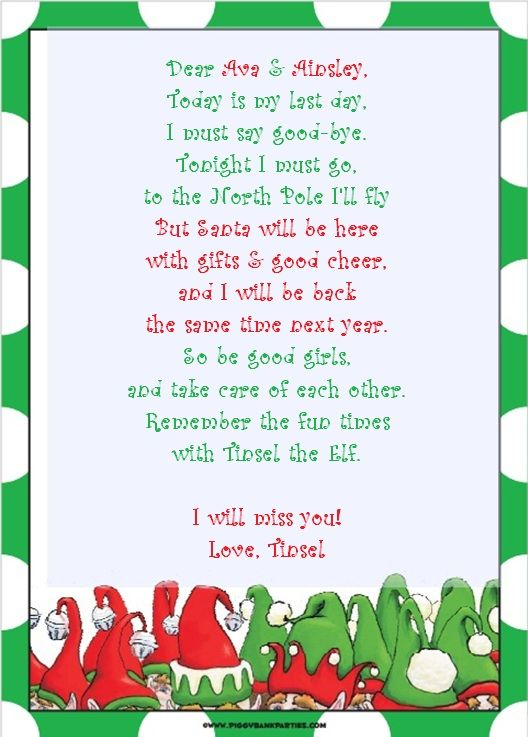 GoodBye Letter Calendar Etc  Elf On The Shelf