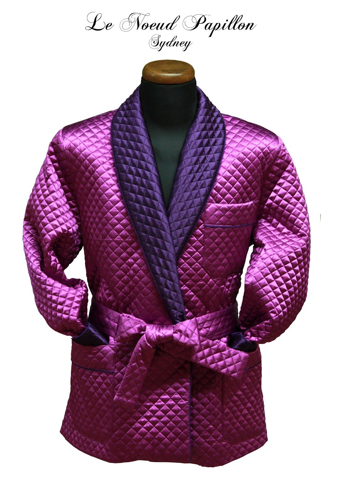 Purple Quilted Silk Smoking Jacket - From Le Noeud Papillon Of Sydney - http://lenoeudpapillon.blogspot.com.au/2012/07/one-of-our-new-smoking-jackets-purple.html